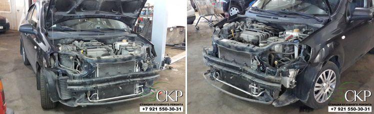 Кузовной ремонт передней части Шевролет Авео