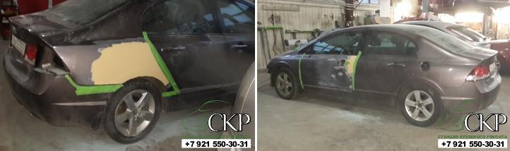 Кузовной ремонт Хонда Цивик 4Дпосле ДТП в СПб