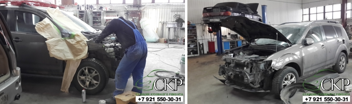 Кузовной ремонт Мицубиси Аутлендер (Mitsubishi Outlander) после ДТП в СПб