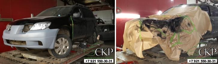 Кузовной ремонт Мицубиси Аутлендер после аварии