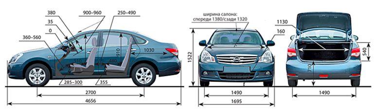 Габариты и размеры Ниссан Альмера (Nissan Almera)
