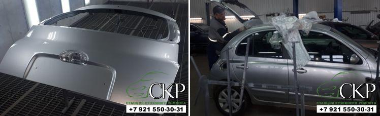 Замена двери багажника Ниссан Микра (Nissan Micra) в СПб от компании СКР