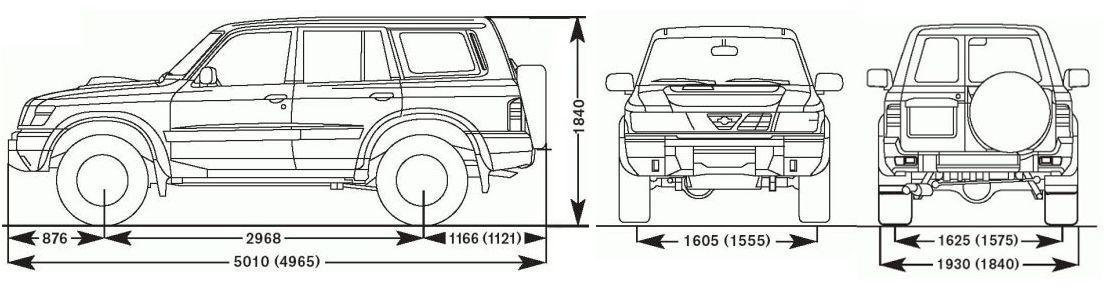 Габариты Ниссан Патрол (Nissan Patrol)