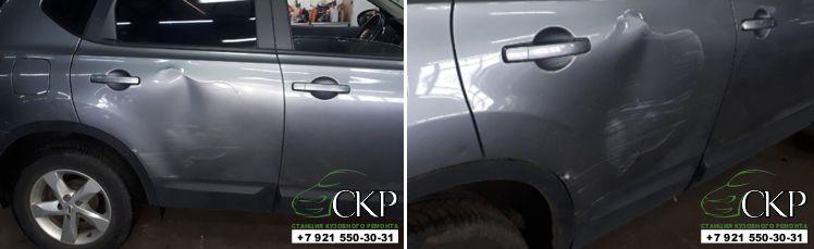 Кузовной ремонт двери Ниссан Кашкай(Nissan Qashqai) в СПб от компании СКР