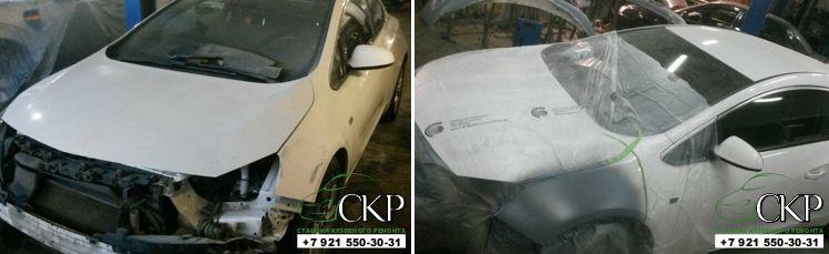 Кузовной ремонт передней части Опель Астра GTS