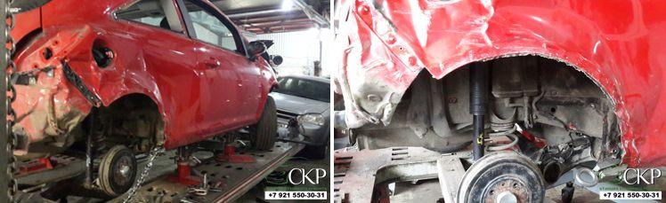 Кузовной ремонт с заменой заднего крыла Опель Корса
