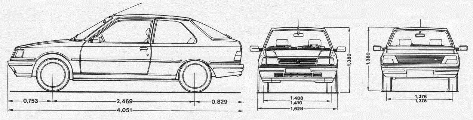Пежо 309 (Peugeot 309) габарит