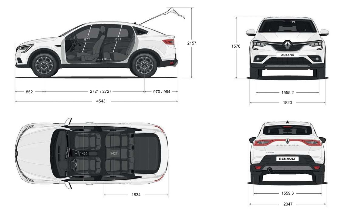 Габаритные размеры Рено Аркана (Renault Arkana)