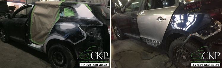 Кузовной ремонт задней левой стороны Рено Меган (Renault Megane) в СПб