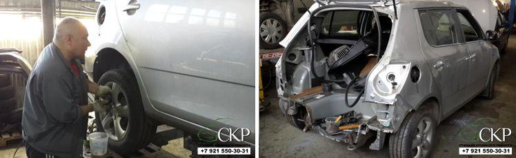 Кузовной ремонт задней части Шкода Фабия