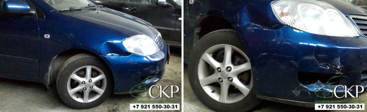 Восстановление передней части кузова Тойота Королла