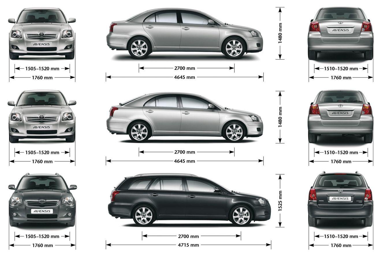 Габаритные размеры модели Тойота Авенсис (Toyota Land Avensis)