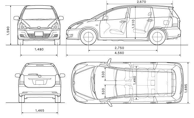 Тойота Виш - размеры кузова